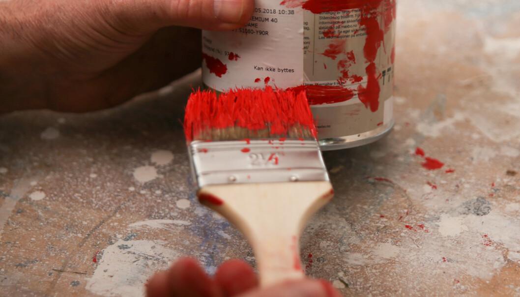 <strong>Lagerstatus:</strong> Lag en strek som viser hvor mye maling som er igjen på boksen. Foto: Øivind Lie-Jacobsen