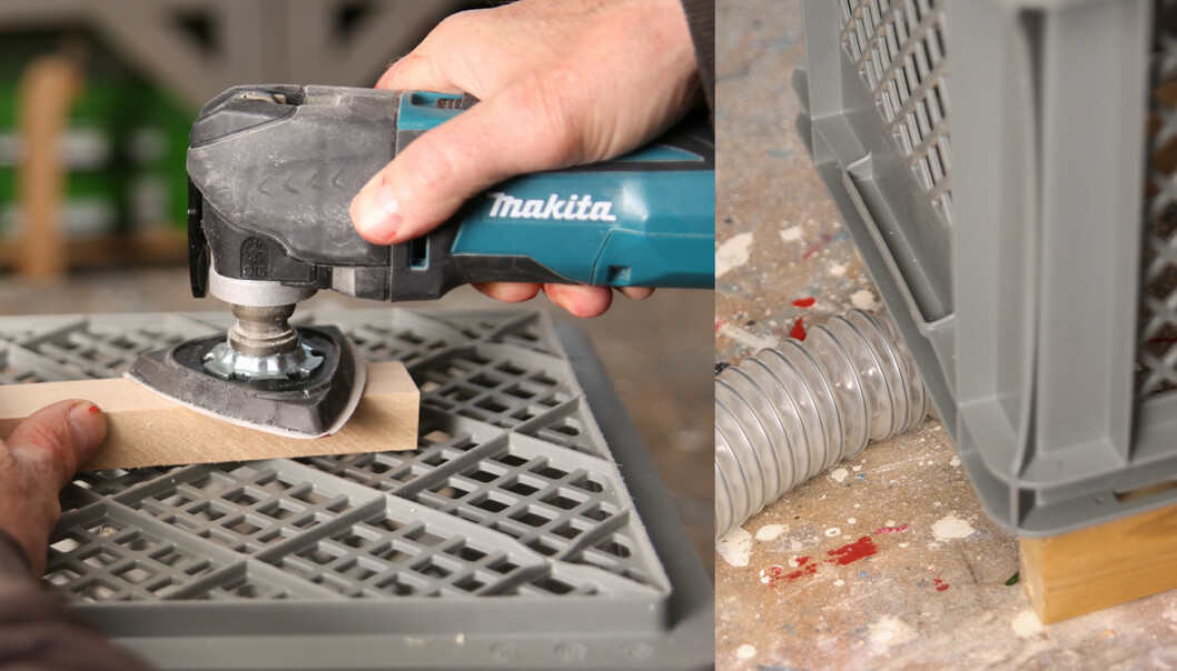 Støvavsug: En plastkasse i kombinasjon med en støvsuger blir et enkelt støvavsug. Foto: Øivind Lie- Jacobsen