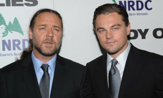 <strong>GOD HANDEL:</strong> Skuespillerne Russell Crowe og Leonardo Dicaprio er gode venner, noe den hysteriske avsløringen om handelen også vitner om. Her er de avbildet sammen i 2008. Foto: NTB Scanpix