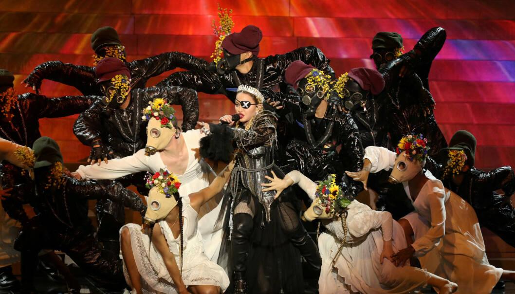 OPPTRÅDTE: Madonnas opptreden under Eurovision har blitt mye omtalt, både for hennes sure sangstemme og for det politiske stuntet. Foto: NTB Scanpix