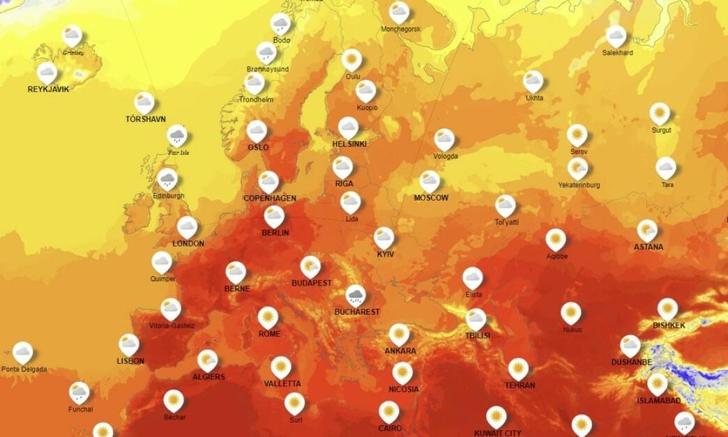 <strong>BLIR HETT:</strong> Hetebølgen som er på vei til Europa skal begynne i Spania og bevege seg vestover. Det er ventet temperaturer fra 35 til 40 grader. De mørkerøde områdene illustrerer veldig høy varme. Foto: Yr.no.