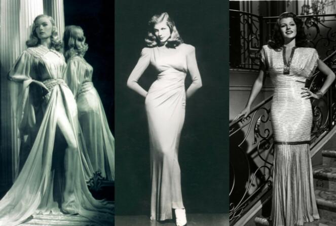 GLAMOUR OG UNIFORM: Veronica Lake, Lauren Bacall og Rita Hayworth var tre av 40-tallets kvinnelige ikoner. Foto: Moviestore/REX/NTB Scanpix.