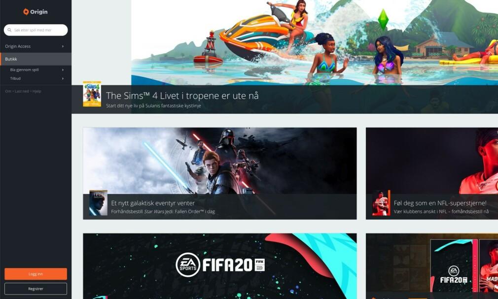 POPULÆR SPILLTJENESTE: Origin er spilltjenesten til Electronic Arts som har over 300 millioner brukere.