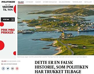 BEKLAGER: Politiken har endret den opprinnelige artikkelen om Sommarøy. Foto: Faksimile