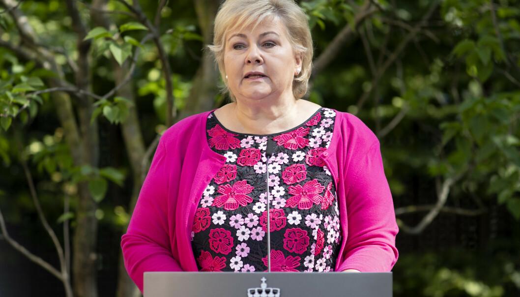 INGEN AMBISJON: Onsdag fastslo Erna Solberg, på regjeringens halvårlige pressekonferanse, igjen at regjeringen nekter å hjelpe de såkalte IS-barna og mødrene deres. Foto: Ryan Kelly / NTB scanpix