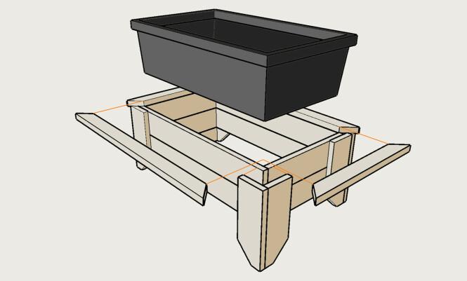 Kasse: Alle typer bord kan brukes, impregnert, gjenbruksbord eller vanlige kledningsbord. Bruker du en dypere dunk er det bare å legge til et ekstra bord i høyden. Illustrasjon: Øivind Lie-Jacobsen