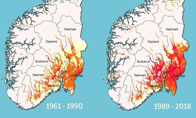 <strong>Temperaturen øker:</strong> Østlandet har sett en dobling i antall hetebølger de siste 30 årene. Illustrasjon: Helga Therese Tilley Tajet og Mai-Linn Finstad Svehagen / Meteorologisk institutt.
