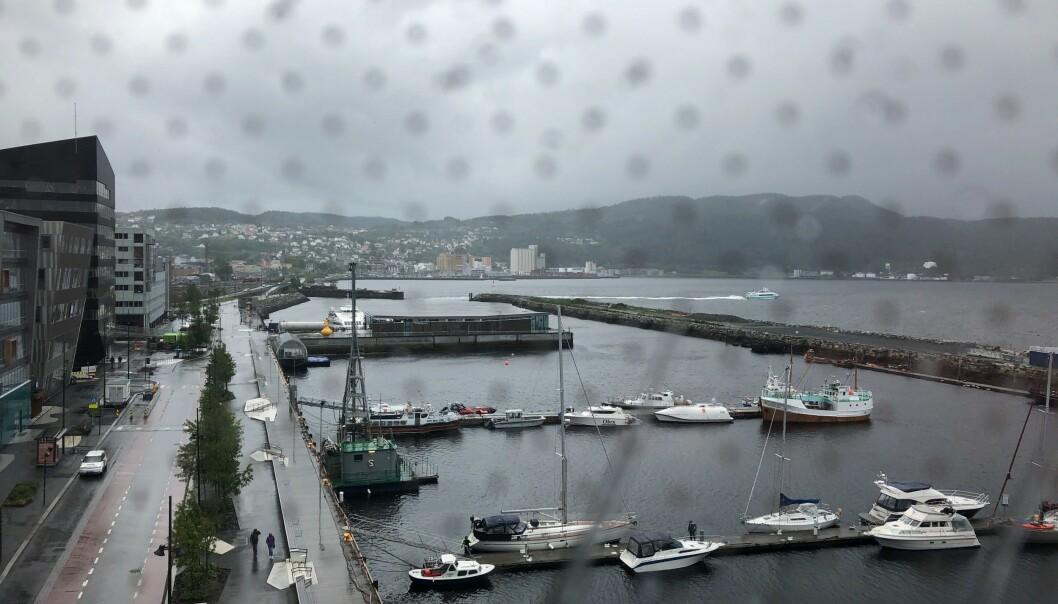 <strong>SURT:</strong> Mens det har sluddet i nord og solen har strålt i sør, har gråværet inntatt Midt-Norge og Trondheim lørdag. Foto: Frank Karlsen