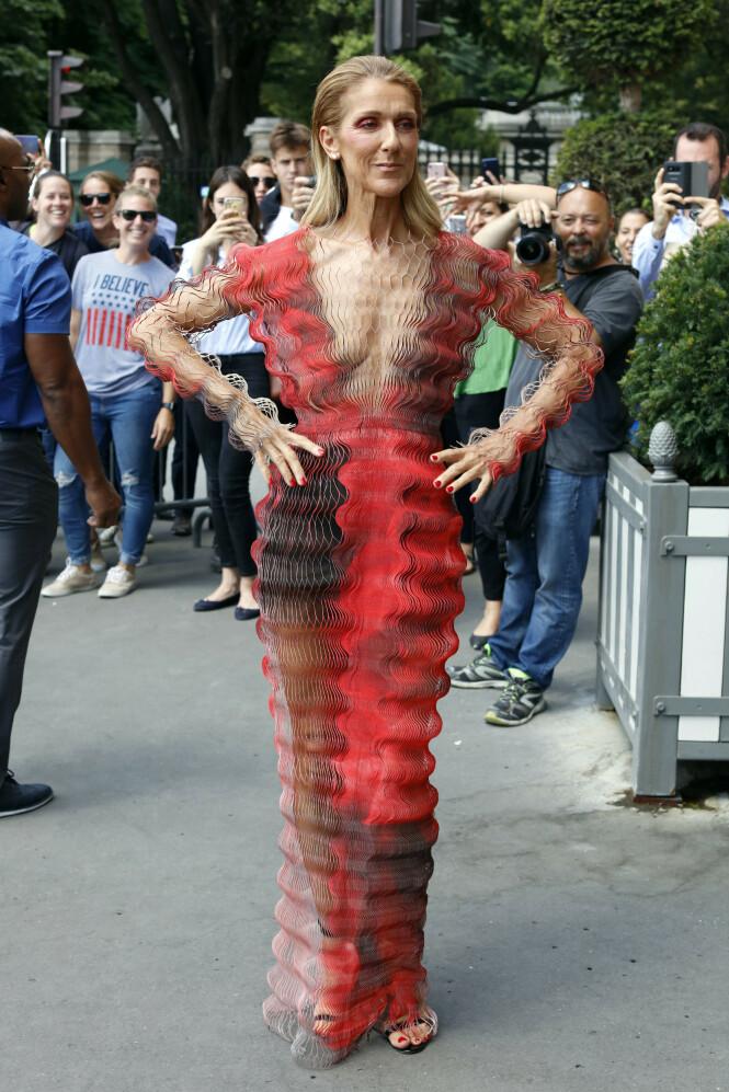 SKILLER SEG UT: Céline i en kjole fra motedesigner Iris Van Herpen. Foto: NTB Scanpix