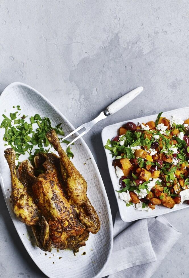 Den greske krydderblandingen gyros passer perfekt til kylling. Det består av mange krydder, alt fra chili- og hvitløkspulver til spisskummen og kanel. FOTO: Nina Malling