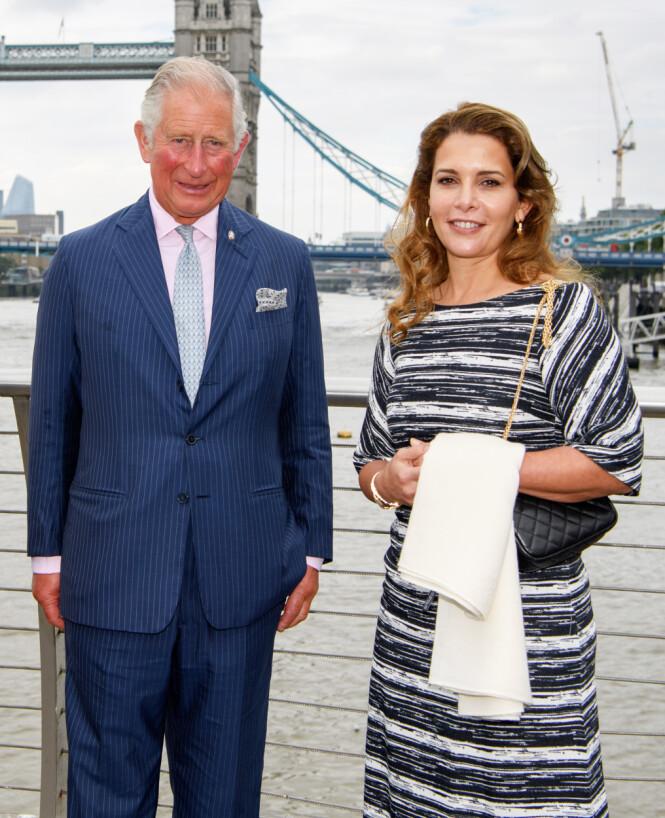 KONGELIGE VENNER: Prinsesse Haya bint al-Hussein har ved flere anledninger vært til stede på arrangementer sammen med representater av den britiske kongefamilien, som her, da hun møtte prins Charles i London i september 2018. Foto: NTB Scanpix