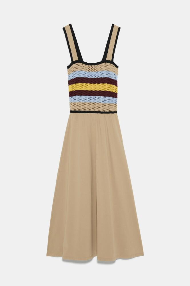 Beige kjole med heklet overdel (kr 350, Zara). FOTO: Produsenten