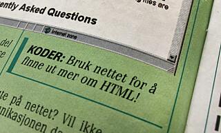 Om du først absolutt vil lære deg HTML, mener Tekno at du bør bruke nettet. Det er kanskje åpenbart at dokumentasjon er best på nettet nå, men i 1998 brukte vi fortsatt tekstbøker som manualer for koding. 📸: Jørgen Jacobsen