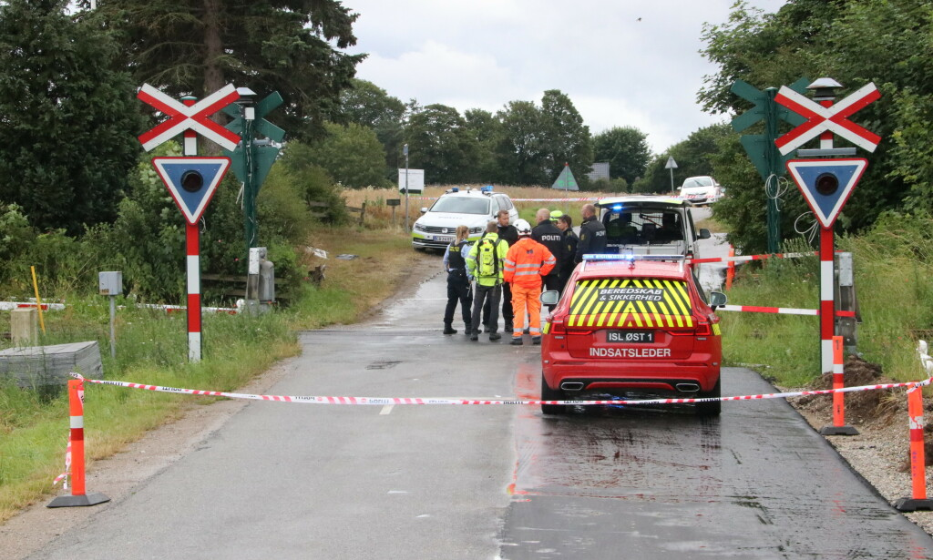 DØDSULYKKE: To nordmenn omkom i forbindelse med en ulykke som involverer en norskregistrert bil og et tog utenfor Aarhus i Danmark. Foto: ØXENHOLT FOTO