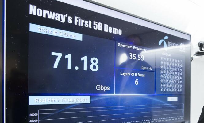 <strong>RASKT:</strong> Under demonstrasjonen av 5G klarte Telenor å presse hastigheten mellom en basestasjon og to terminaler bare noen meter unna, til over 71 Gbps. Foto: Håkon Mosvold Larsen / NTB Scanpix