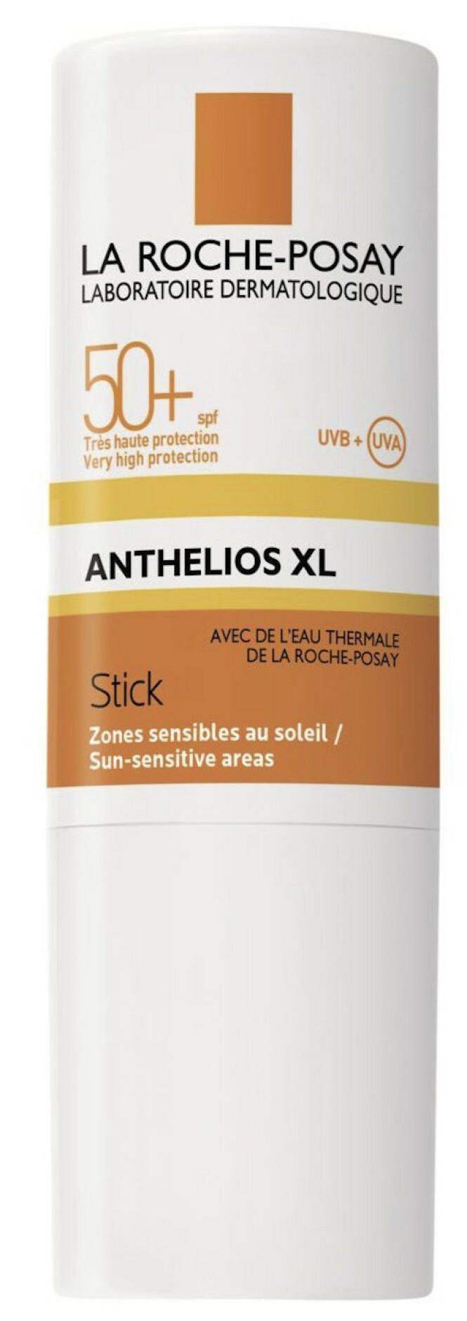 Med antioksidanter og kildevann (kr 135, La Roche-Posay, Anthelios XL Stick, SPF 50).