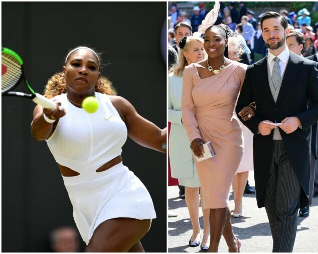 STØTTET VENNINNEN: Hertuginne Meghan var på tribunen mens Serena Williams var i aksjon. Her er hun under Wimbledon forrige uke, og i bryllupet til Meghan og Harry i mai 2018, sammen med ektemannen Alexis Ohanian. Foto: NTB scanpix