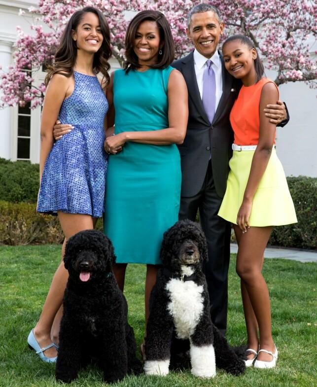 2015: Hvis døtrene Sasha og Malia skulle overnatte hos vennene sine var det visse forhåndsregler som måtte tas. Foto: NTB Scanpix