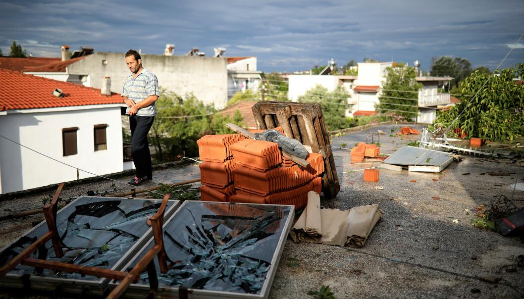 KNUST: Det stormet i Halkidi-provinsen fra onsdag kveld. Foto: Alkis Konstantinidis / Reuters / NTB Scanpix