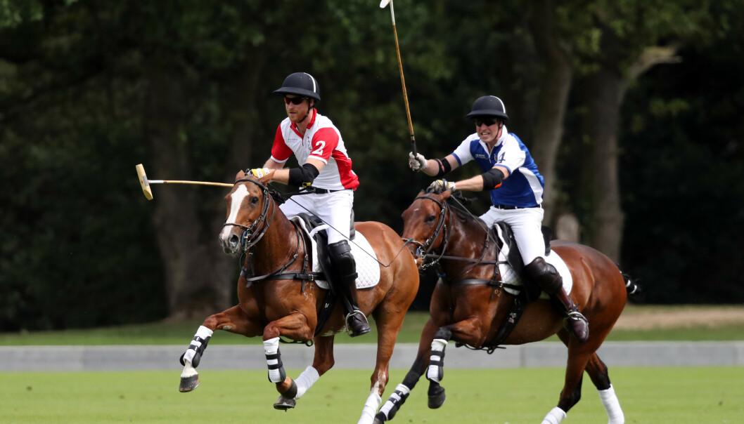 KONKURRANSEINSTINKT: Både prins William (i blått) og prins Harry er drevet av en sterk konkurranselyst - men det var prins William som trakk det lengste strået under den årlige polokampen i Berkshire. FOTO: NTB Scanpix