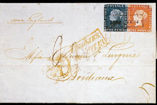VERDIFULLT BREV: Bordeaux-brevet som er stemplet med «rød og blå Mauritius». Foto: Artdaily.com.