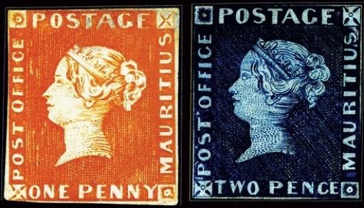 RØD OG BLÅ MAURITIUS: Blant de mest verdifulle frimerkene i verden. Foto: Wikipedia.