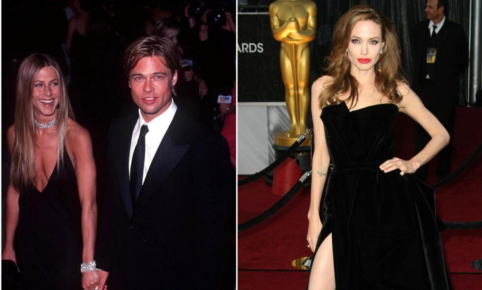 TO EKSKONER: Da Brad Pitt skilte seg fra Angelina Jolie i 2016, skal han ha tatt kontakt med sin første kone, Jennifer Aniston. Foto: NTB Scanpix
