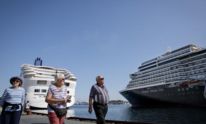 <strong>TO SKIP:</strong> Da Dagbladet var i Stavanger var det to cruiseskip til kai. Det kan også være fire samtidig. Foto: Kristian Ridder-Nielsen / Dagbladet