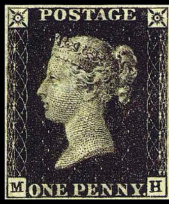 VERDENS FØRSTE FRIMERKE: «One Penny Black». Foto: Wikipedia.