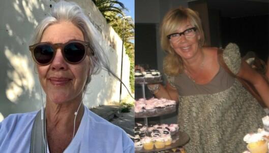 Til høyre kan vi se hvordan håret til Hilde så ut før hun lot sine hvite hår gro ut. Helt klart langt gulere enn til venstre, hvor vi ser den kjølige og naturlige hvite hårfargen hun har i dag. Foto: Privat.