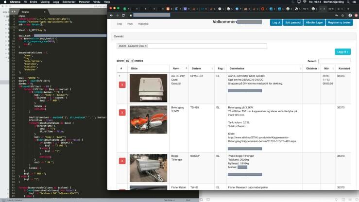 Slik ser det ut når Steffen utvikler web-versjonen av lagersystemet. 📸: Privat