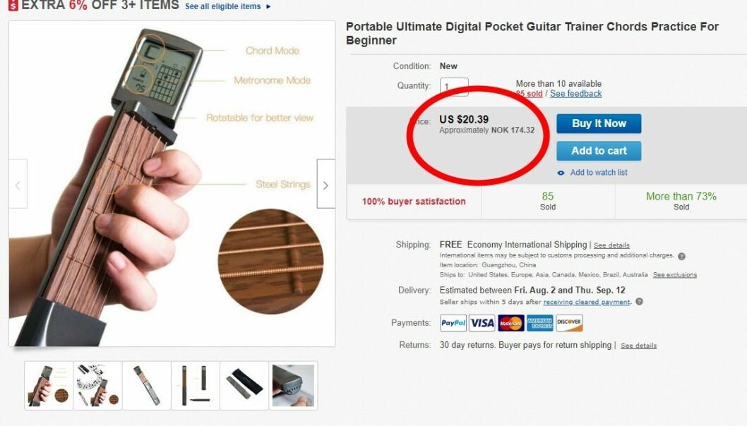 <strong>BILLIG:</strong> Og her er annonsen fra forhandleren på Ebay. (Skjermdump)