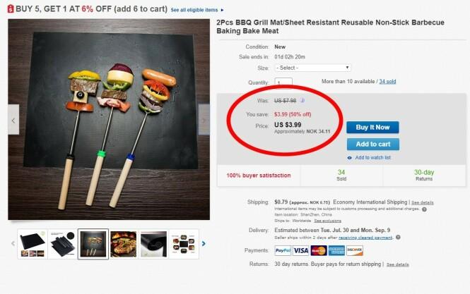 <strong>BILLIG:</strong> Her er annonsen fra leverandøren på Ebay. (Skjermdump)