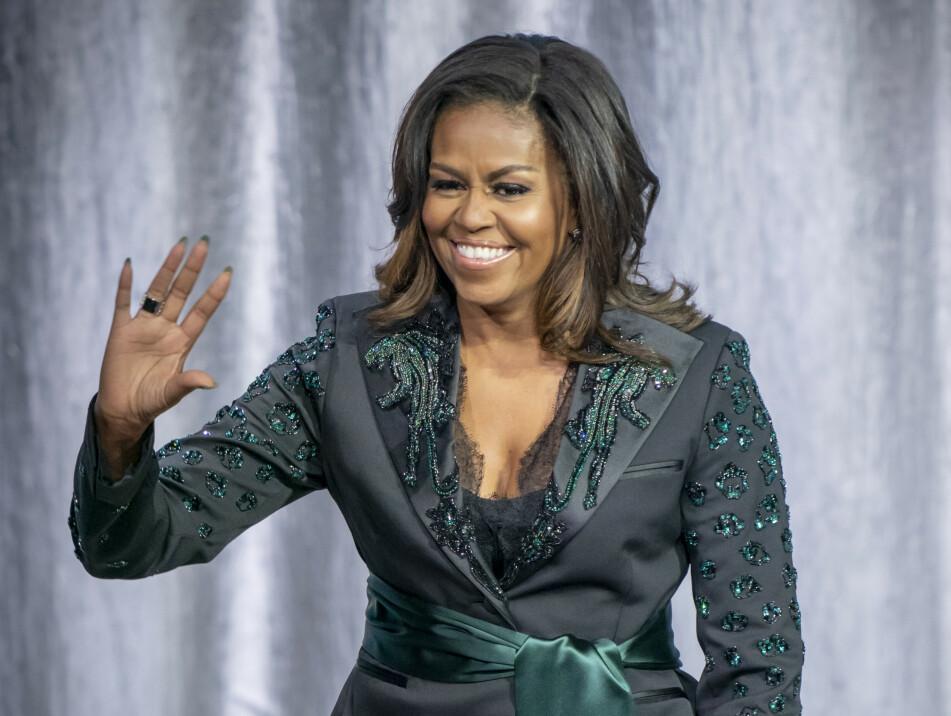 I NORSK DESIGN: Da Michelle Obama besøkte Oslo i april hadde hun på seg en dress designet av Peter Dundas. Foto: Scanpix