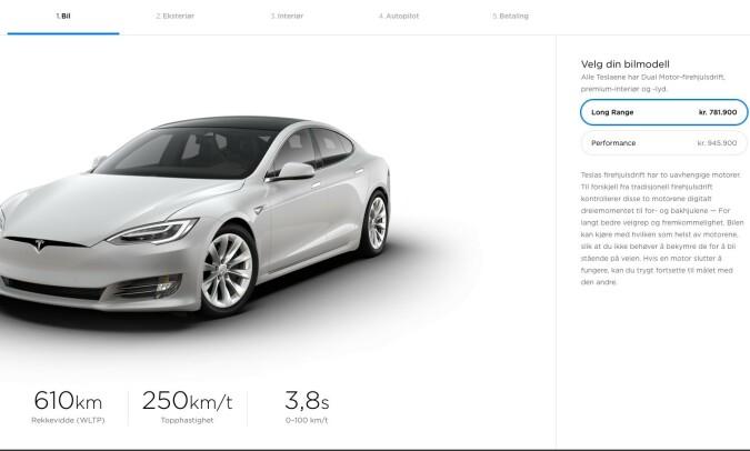 FJERNET: Standard Range-versjonen finnes ikke lenger i Teslas bilkonfigurator. Foto: Skjermdump Tesla.com