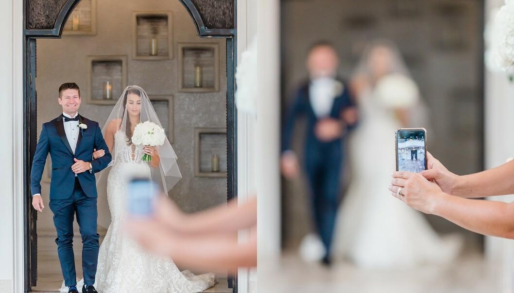 DOBBELT OPP: Bryllupsfotograf Hannah Stanley er lei av gjester som ødelegger bildene brudeparet har betalt for. Ordtaket «jo flere kokker, desto mere søl» er svært treffende her. Foto: Hannah Way Photography