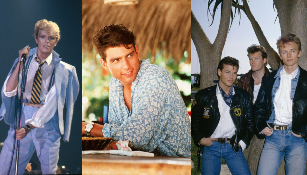 STILIKONER PÅ 80-TALLET: David Bowie, Tom Cruise og A-ha. Foto: Paramount/Kobal/Ilpo Musto/REX/NTB Scanpix.