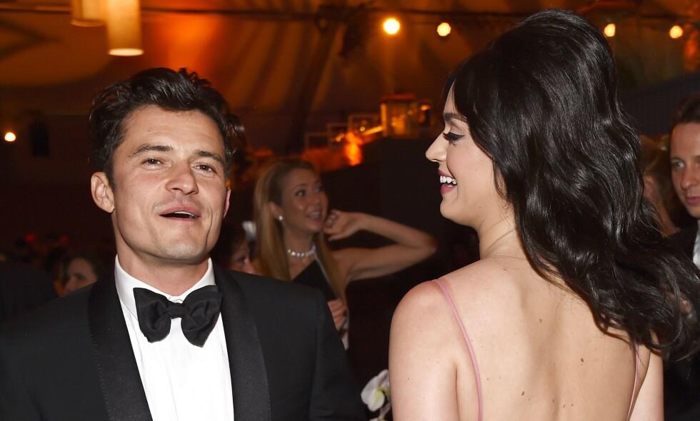 FORLOVET: Orlando Bloom og Katy Perry ble forlovet på selveste valentinsdagen i år - og nå står bryllup for tur. Her er de sammen under Golden Globes i 2016. Foto: NTB Scanpix