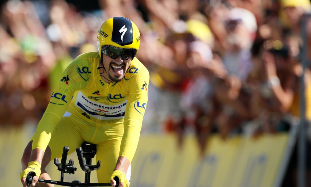 VANT: Julian Alaphilippe vant overasket og vant tempoetappen. Foto: REUTERS / Gonzalo Fuentes / NTB Scanpix