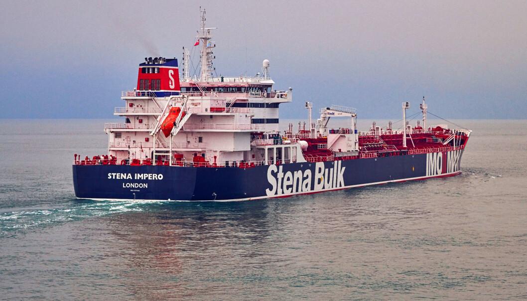 Mannskapet på oljetankeren Stena Impero skal være i god form etter forholdene, etter at skipet ble oppbrakt og tatt i arrest av iranske myndigheter fredag. Foto: Stena Bulk / NTB scanpix
