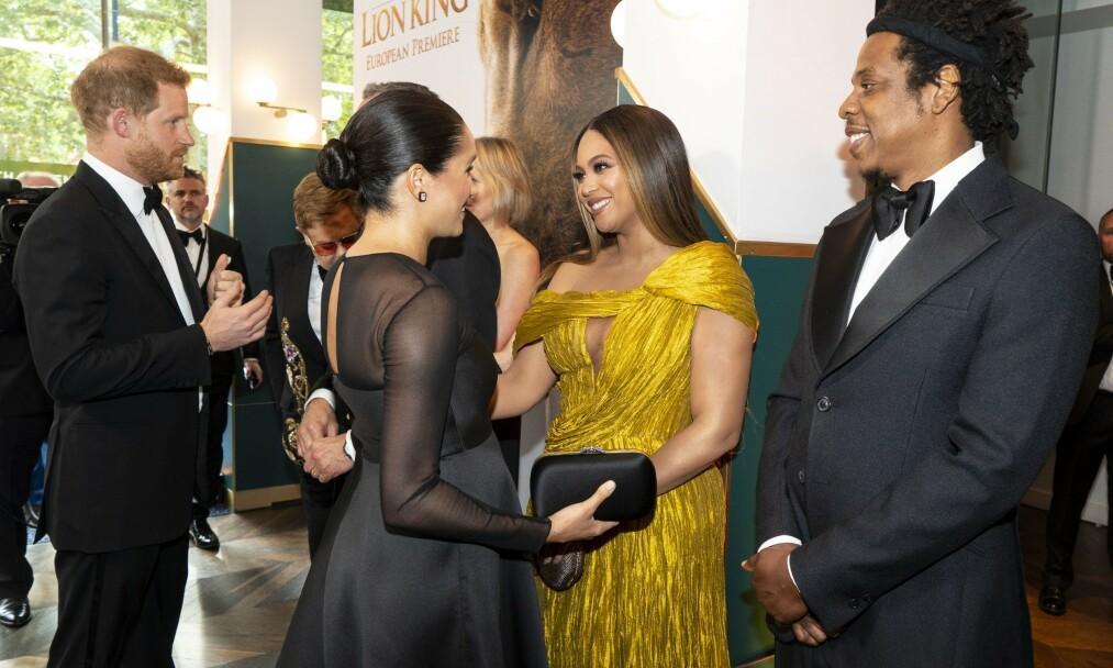 STJERNEMØTE: Da Meghan og Harry tidligere denne måneden deltok på filmpremiere i London, møtte de blant andre Beyoncé og Jay Z. Foto: NTB Scanpix