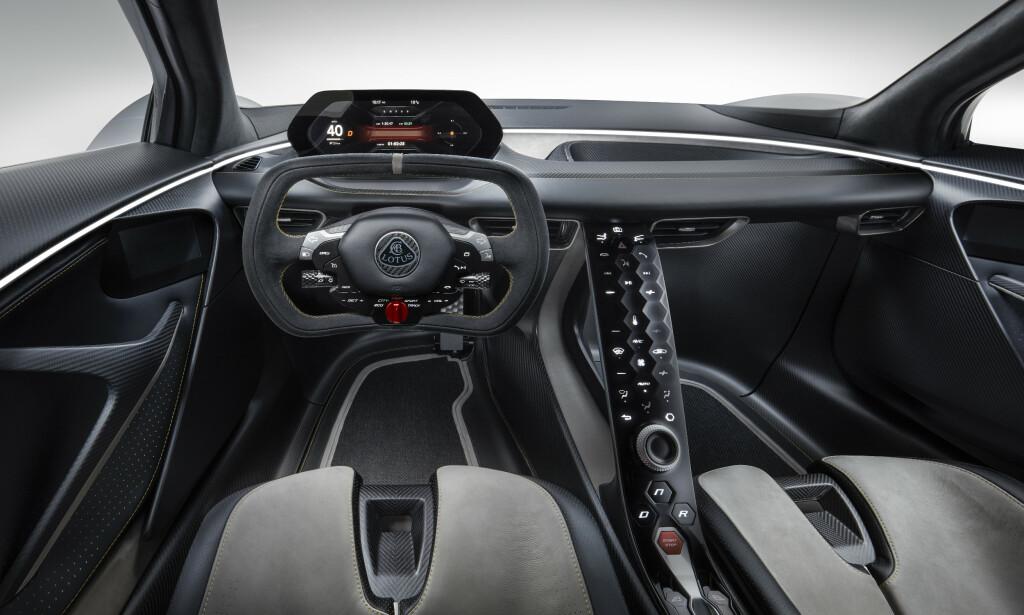 MODERNE: Formel 1-ratt og skibakkedisplay skal gi bilen et moderne racing-preg. Foto: Lotus