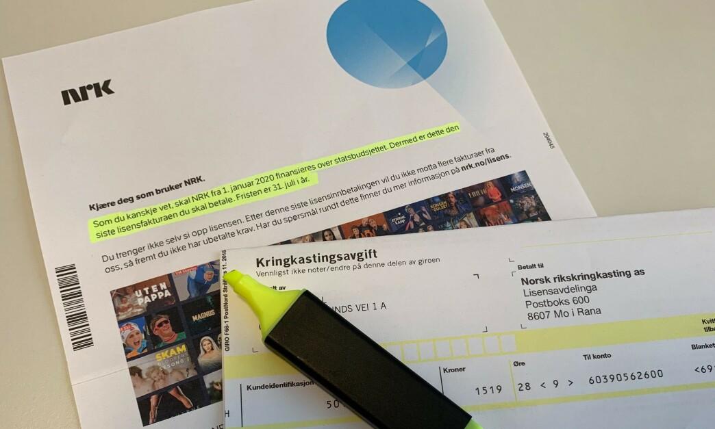 <strong>ÉN BETALING GJENSTÅR:</strong> Etter at du har betalt NRK-lisensen for perioden 1. juli til 31. desember 2019, trenger du ikke å tenke på denne regninger igjen noen sinne. Foto: Eilin Lindvoll.