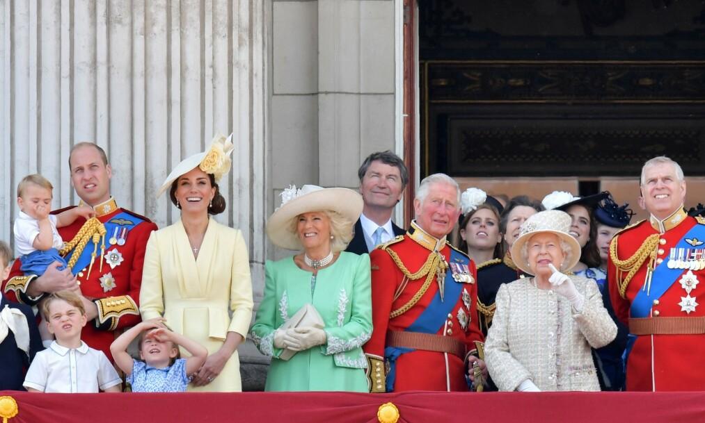BLÅTT BLOD: Medlemmene av kongehuset i Storbritannia må følge streng kongelig protokoll - også når de er på reisefot. Nå kommer det frem at flere i familien reiser utenlands - med forsyninger av sitt eget blod i bagasjen. Her er de under dronning Elizabeths bursdagsmarkering i juni i år. Foto: NTB Scanpix