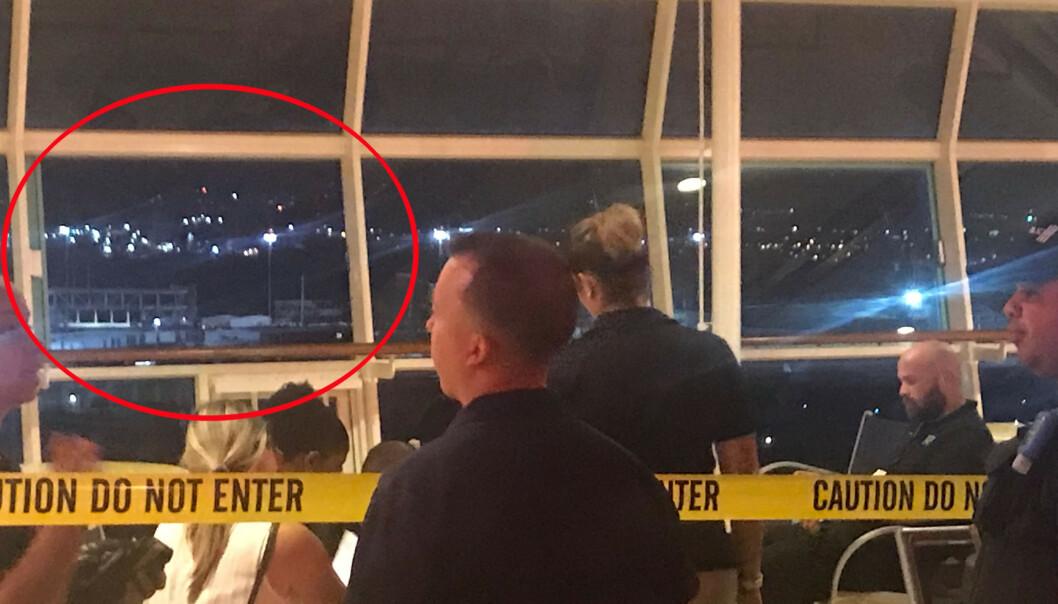 ÅSTEDET: Det var gjennom dette vinduet at den lille ettåringen Chloe Wiegand som falt ut av vinduet på cruise-skipet Freedom of the Seas i begynnelsen av juli. Det var bestefaren Salvatore Anello som passet på ettåringen da ulykken skjedde. FOTO: NTB Scanpix