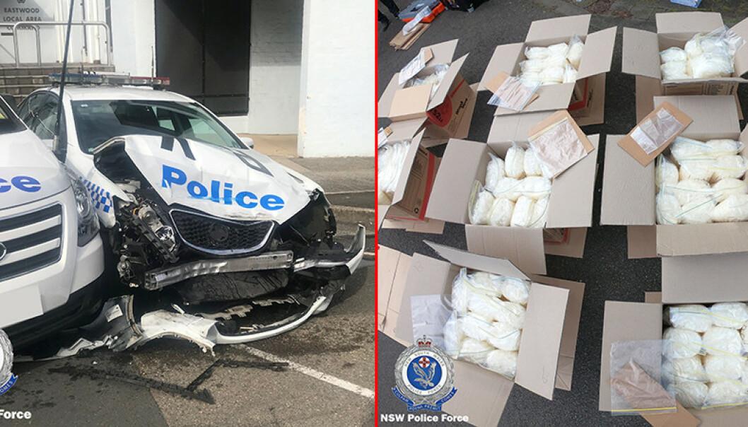 Da australsk narkopoliti sjekket varebilen som krasjet inn i en parkert politibil i Sydney, fant de 273 kilo metaamfetamin. Foto: NTB scanpix / Reuters