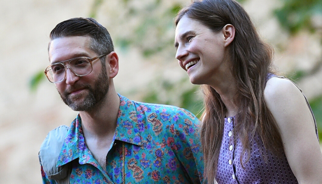 SKAL GIFTE SEG: Christopher Robinson og Amanda Knox møttes i 2015. I fjor forlovet paret seg. Foto: NTB Scanpix