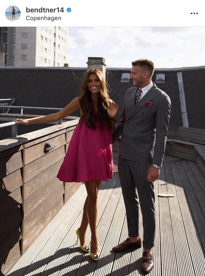 LIKER Å VISE SEG FRAM: Nicklas Bendtner og kjæresten Philine Roepstorff. Foto: Instagram / bendtner14