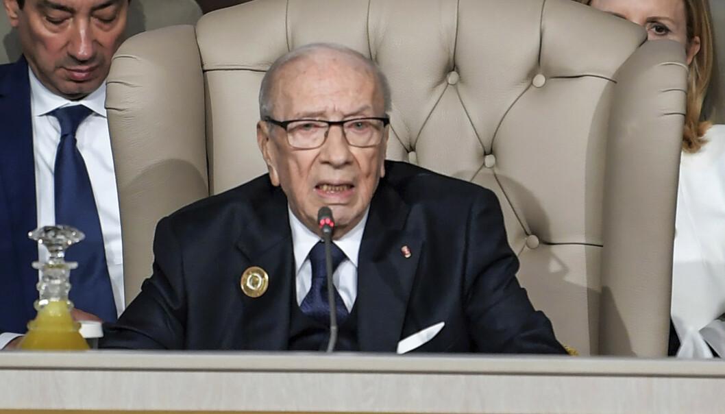 Tunisias president Beji Caid Essebsi døde torsdag, 92 år gammel. Foto: AP / NTB scanpix