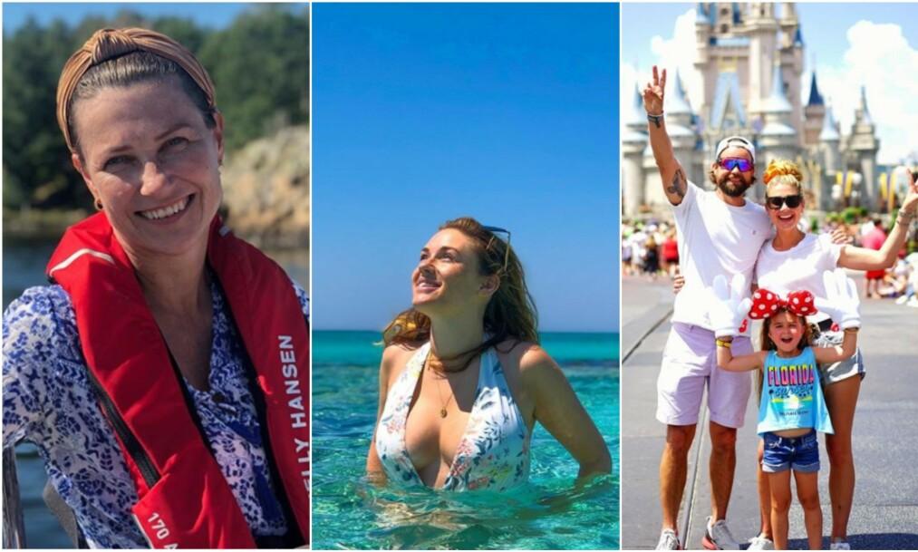 FERIE: Prinsesse Märtha Louise, Ida Fladen og Tone Damli er bare noen av de norske kjendisene som nyter late sommerdager. Foto: Instagram